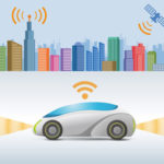 white and blue autonomous car