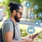Guy using rideshare app